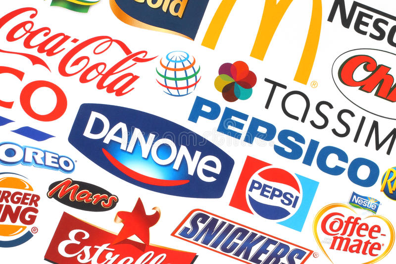 Collection of popular food logos companies. KIEV, UKRAINE - MAY 07, 2015:Collection of popular food logos companies printed on paper:Coca-Cola, Mars, Pepsico stock photo