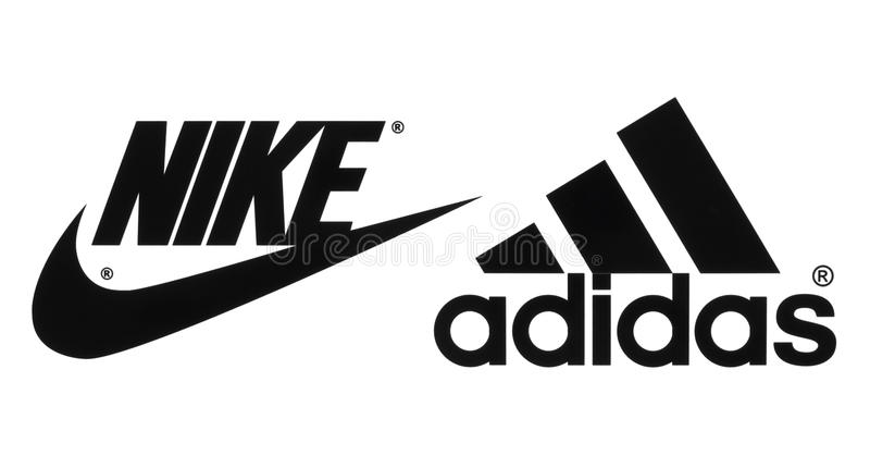 Collection of popular manufactures sports shoes logos. Kiev, Ukraine - September 26, 2016: Collection of popular manufactures sports shoes logos printed on paper