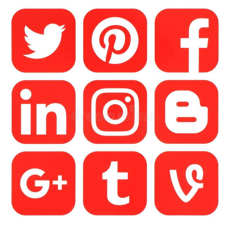 Collection of popular red social media logos. Kiev, Ukraine - September 20, 2016: Collection of popular red social media logos printed on paper: Facebook