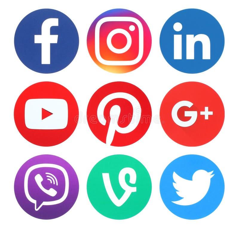 Collection of popular round social media logos vector illustration
