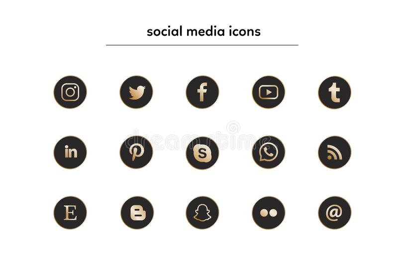 Collection of popular social media icons in black and gold vector illustration