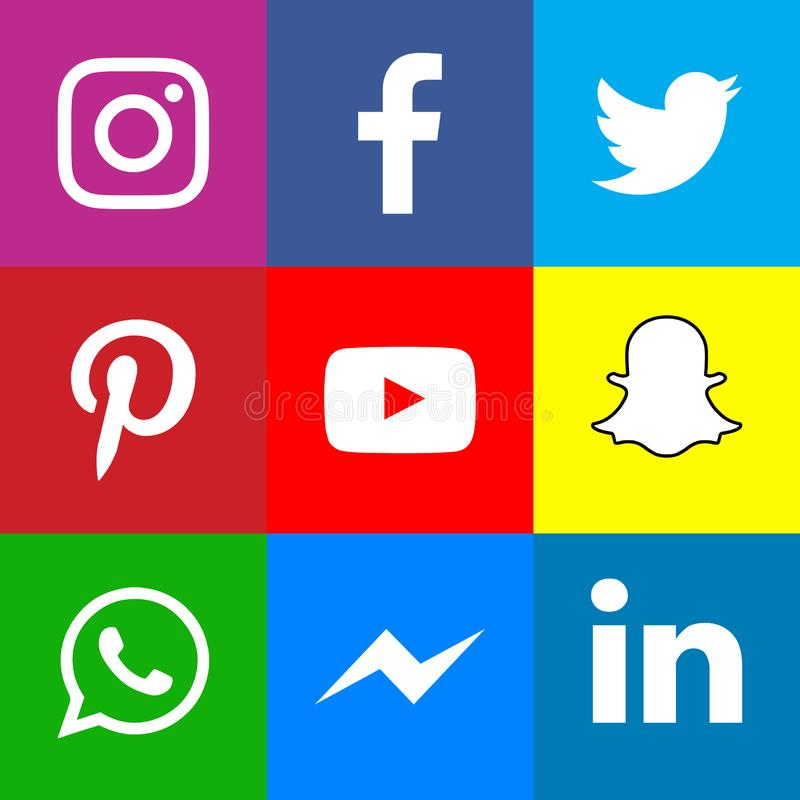 Collection of popular social media icons. Facebook Twitter Instagram LinkedIn Pinterest Youtube WhatsApp Snapchat Messenger 2019 royalty free illustration