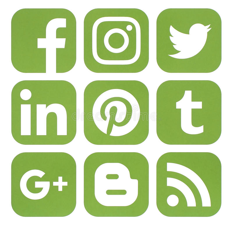 Collection of popular social media icons in greenery color stock photo