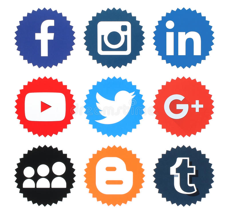 Collection of popular social media logos stock illustration