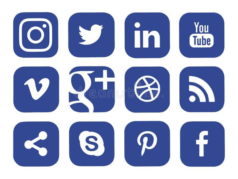 Collection of popular social media logos. Kiev, Ukraine - January 15, 2017: Collection of popular social media logos printed on paper: Facebook, Twitter vector illustration