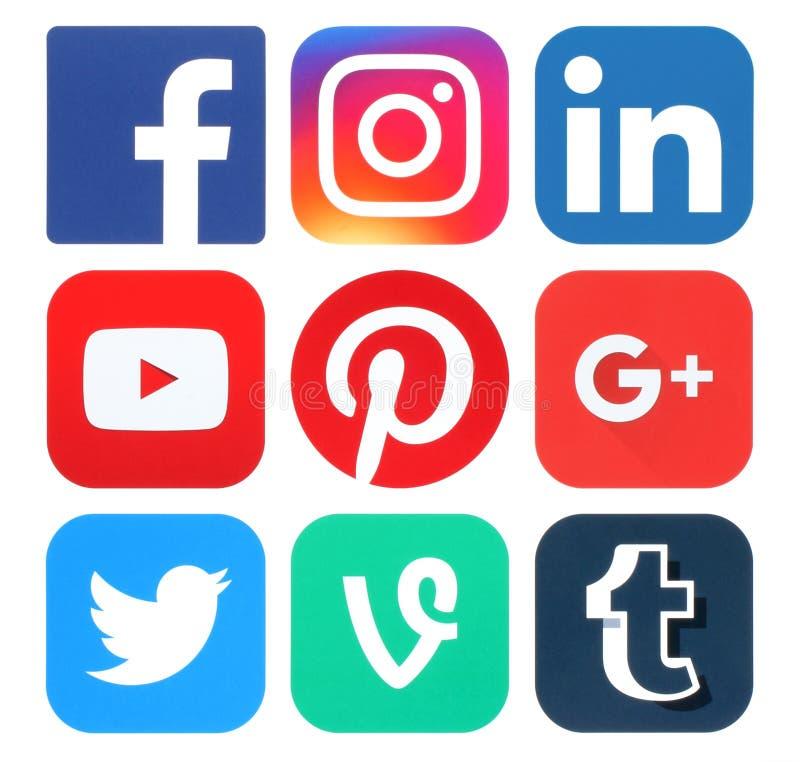 Collection of popular social media logos. Kiev, Ukraine - May 25, 2016: Collection of popular social media logos printed on paper:Facebook, Twitter, Google Plus