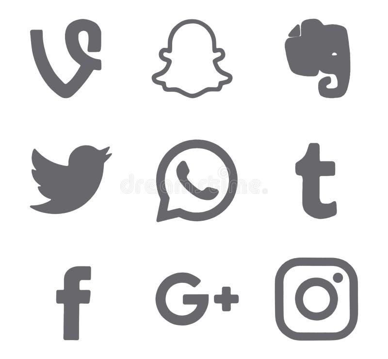 Collection of popular social media logos stock photo