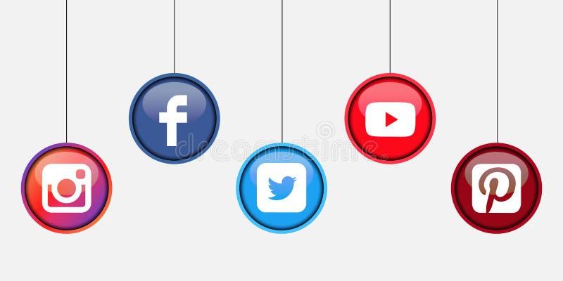 Collection of popular social media logos printed on white paper: Facebook, Twitter, Instagram, Pinterest, Youtube stock illustration