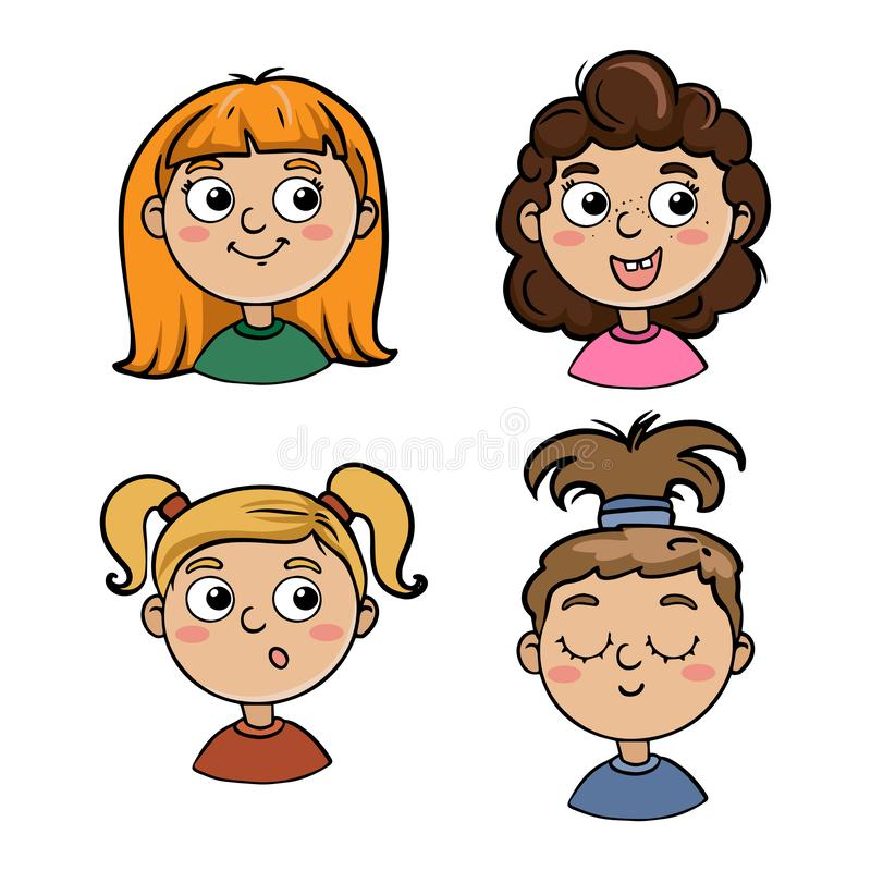 Collection of portraits of children in cartoon style. Cute characters kids girls vector illustration
