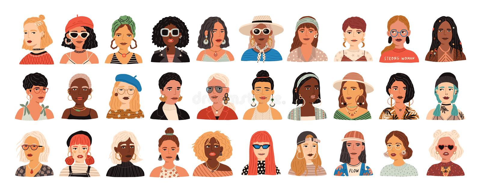 Collection of portraits of cute funny young stylish women. Bundle of smiling hipster girls with different hairstyles and. Accessories. Set of modern female royalty free illustration