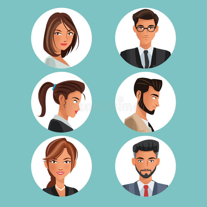 Collection portraits men women workers office royalty free illustration