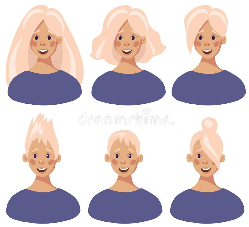 Set of female faces with different hair styles in flat cartoon style. stock illustration
