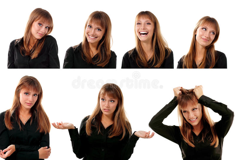 Collection of portraitsd of emotional attractive blond teen girl stock photo