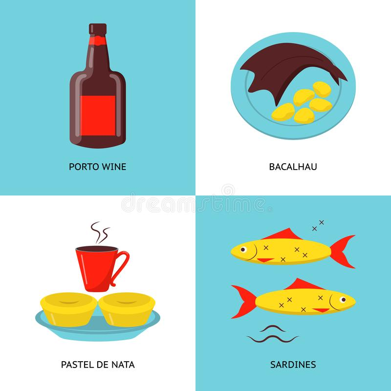 Collection of Portugal icons in flat style. Traditional cuisine symbols set including porto wine, bacalhau fish, pastel de nata tarts and sardines stock illustration