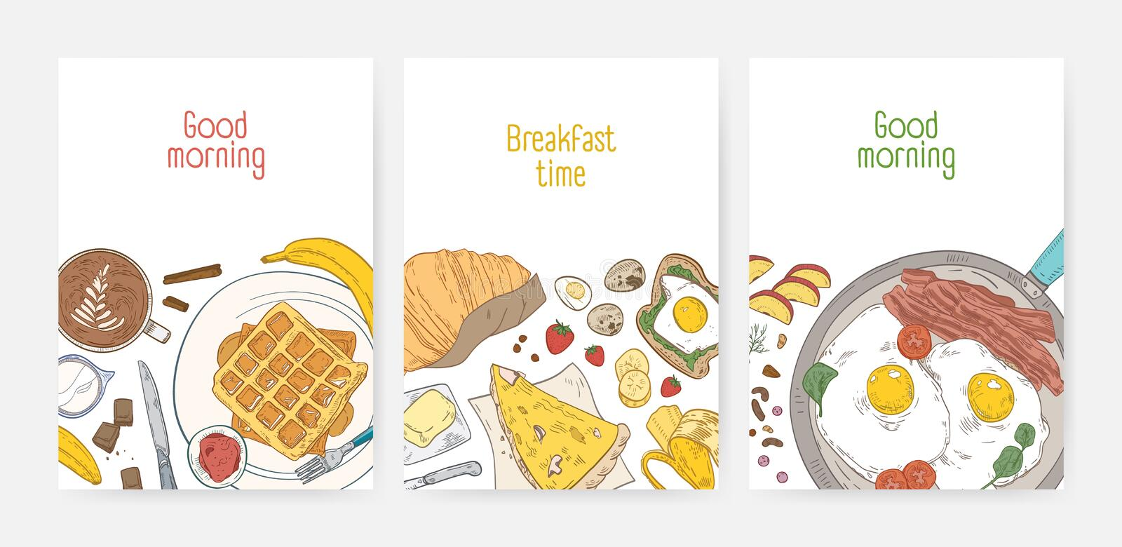 Collection of poster or card templates with tasty healthy breakfast meals and morning food - fried eggs, wafers, coffee royalty free illustration