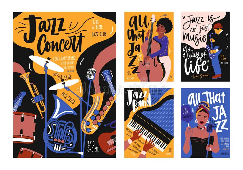 Collection of poster, placard and flyer templates for jazz music festival, concert, event with musical instruments stock illustration