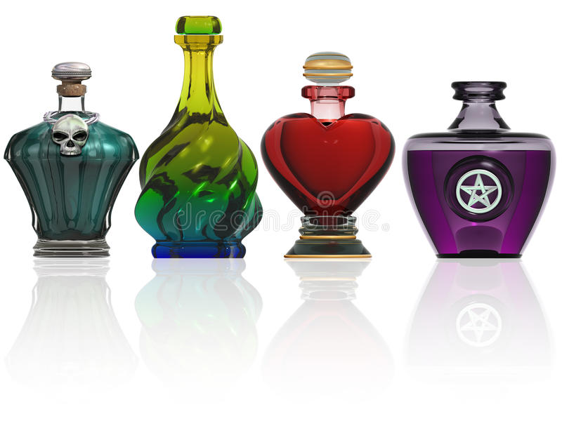 Collection of potion bottles stock illustration