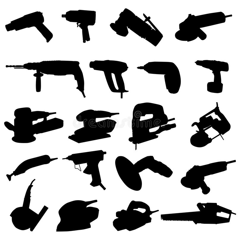 Collection of power tool vector royalty free illustration