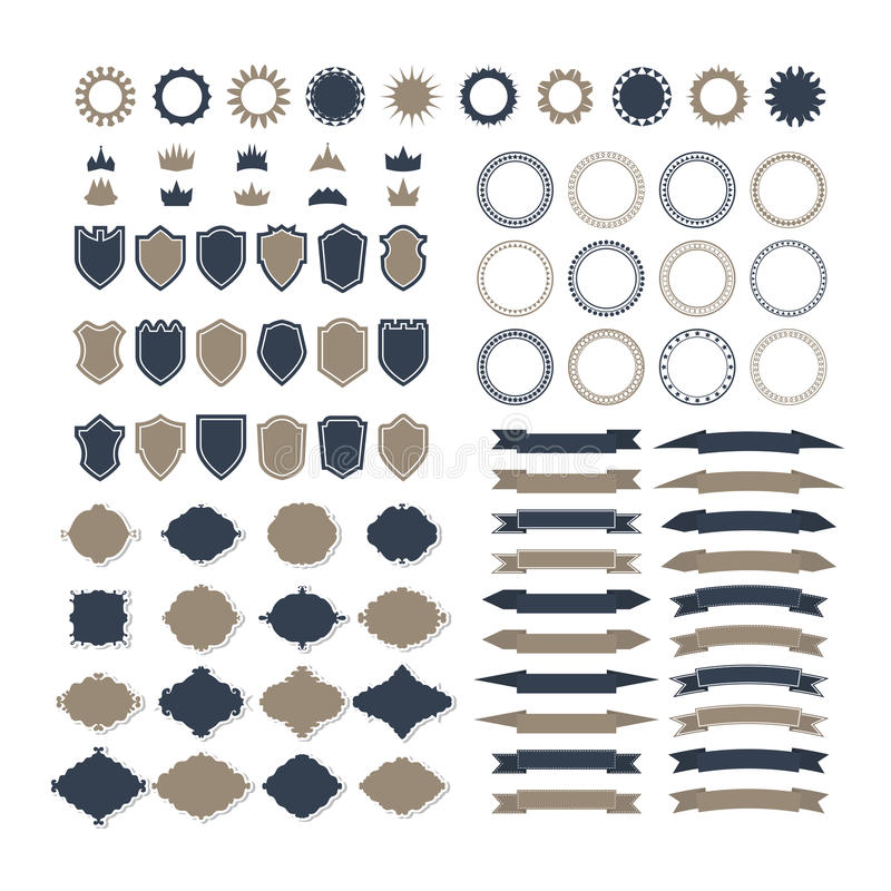 Collection of premium design elements. Set of ribbons, geometric royalty free illustration