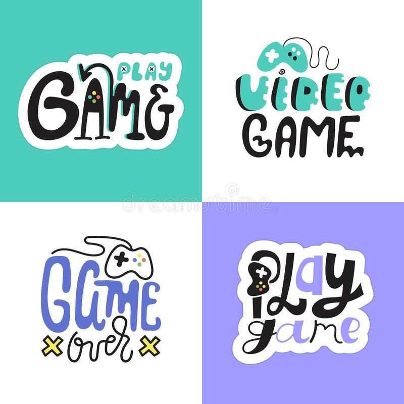 A collection of prints for T-shirts, stickers for gamers. Creative typography design, lettering. royalty free stock photos