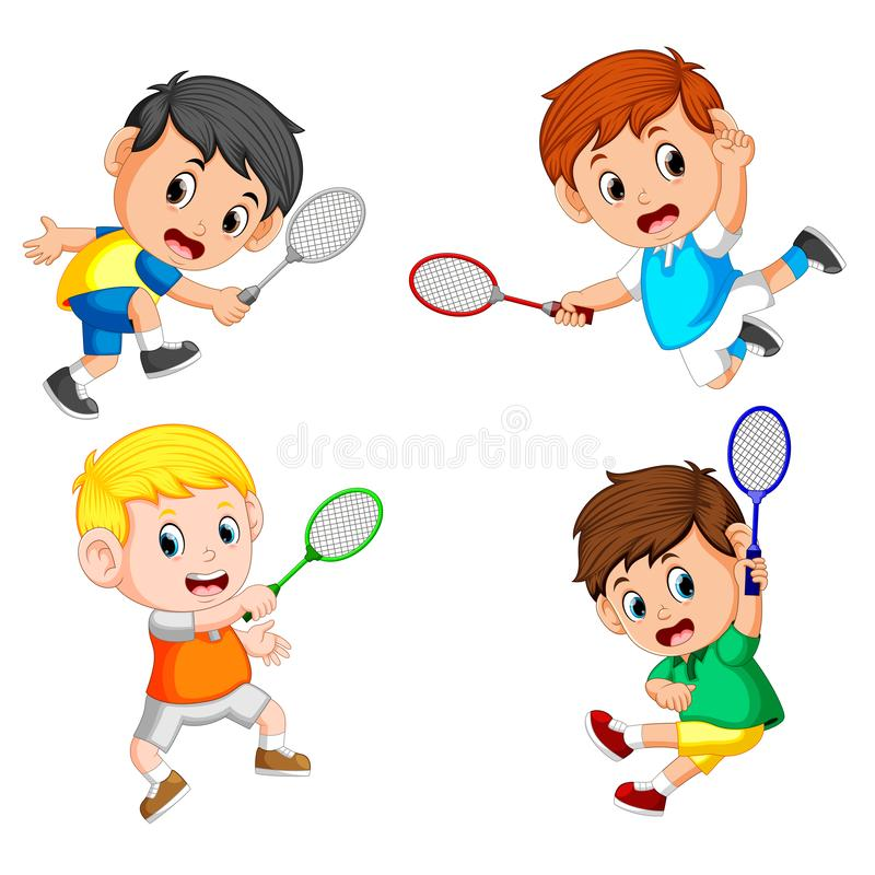 Collection of the profesional badminton player with the different posing. Illustration of collection of the profesional badminton player with the different stock illustration