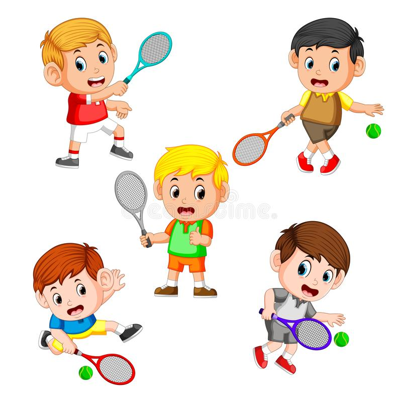 The collection of the profesional tennis field with the right and different posing. Illustration of the collection of the profesional tennis field with the right stock illustration