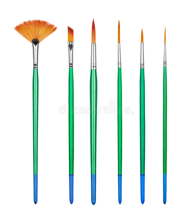 Collection professional paint brushes royalty free stock image