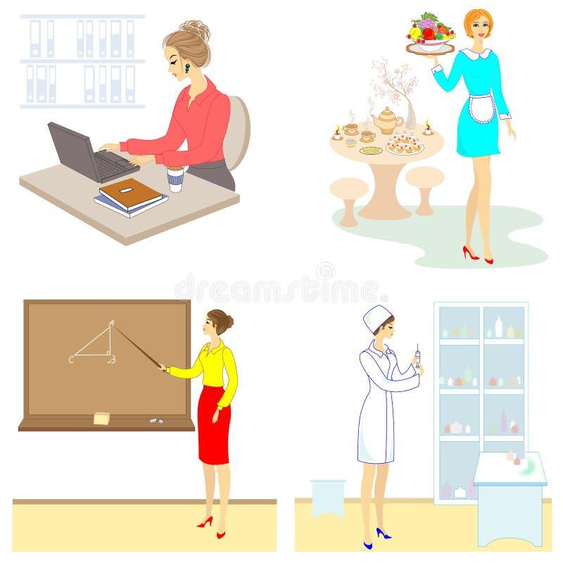 Collection. Professions for a lady. Woman teacher, nurse, secretary, waitress. Vector illustration set stock illustration