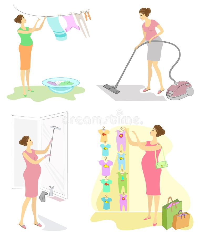 Collection. Profile of a cute pregnant lady. Clean the room with a vacuum cleaner, hang laundry, wash the windows, buy clothes. royalty free illustration