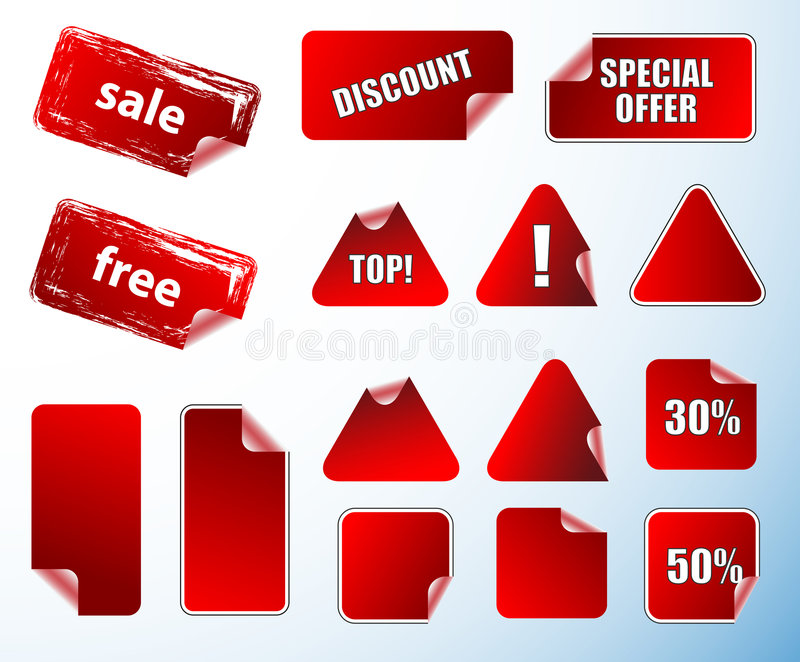 Peeled corner price promotion promotional tags red empty blank label sticker labels stickers special offer sale free discount icon stock illustration