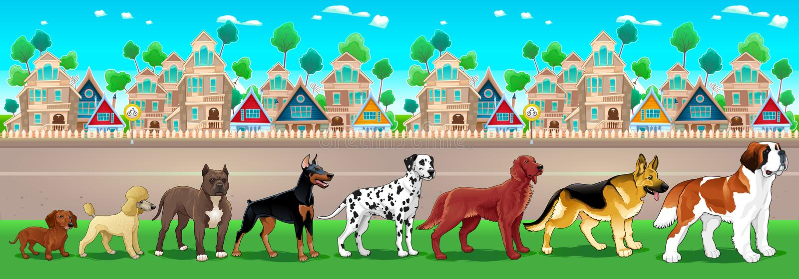 Collection of purebred dogs aligned on the town view. Vector cartoon illustration vector illustration