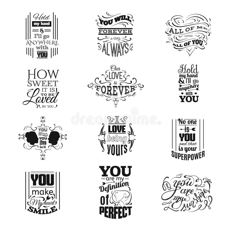 Collection of quote typographical background stock illustration