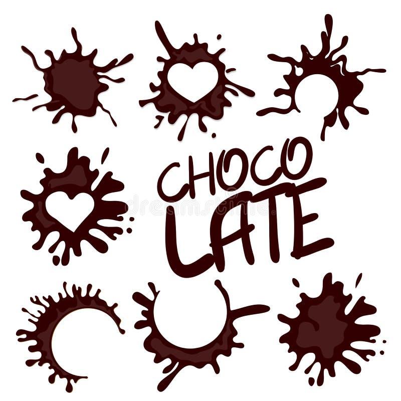 Collection réaliste de baisse de chocolat chaud illustration stock