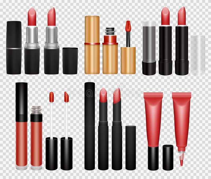 Collection réaliste de lustre de rouge à lèvres et de lèvre sur le fond transparent photos libres de droits
