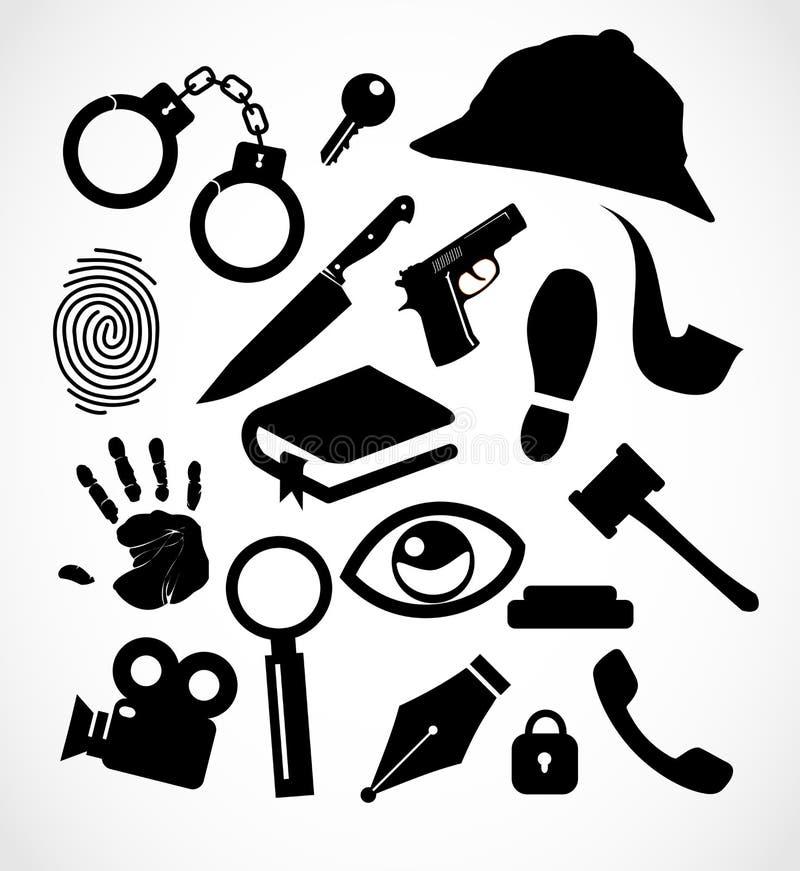 Collection réglée d'icône révélatrice de crime illustration de vecteur