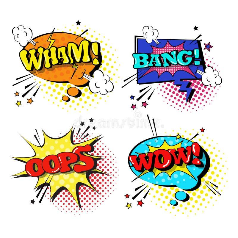 Collection réglée d'icônes d'Art Style Sound Expression Text de bruit de la parole de bulle comique de causerie illustration stock