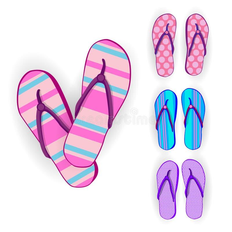 Collection réglée d'usage de pied de Flip Flops Icon Summer Slippers illustration libre de droits