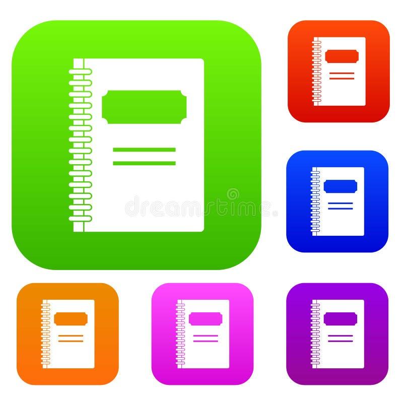 Collection réglée fermée de couleur de carnet de notes à spirale illustration de vecteur