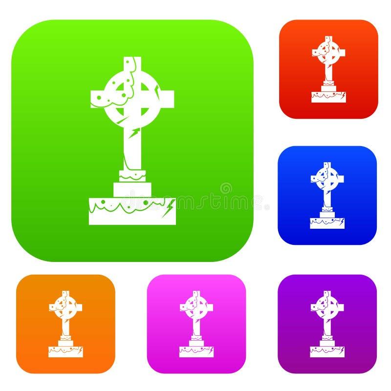 Collection réglée irlandaise de couleur de croix celtique illustration stock