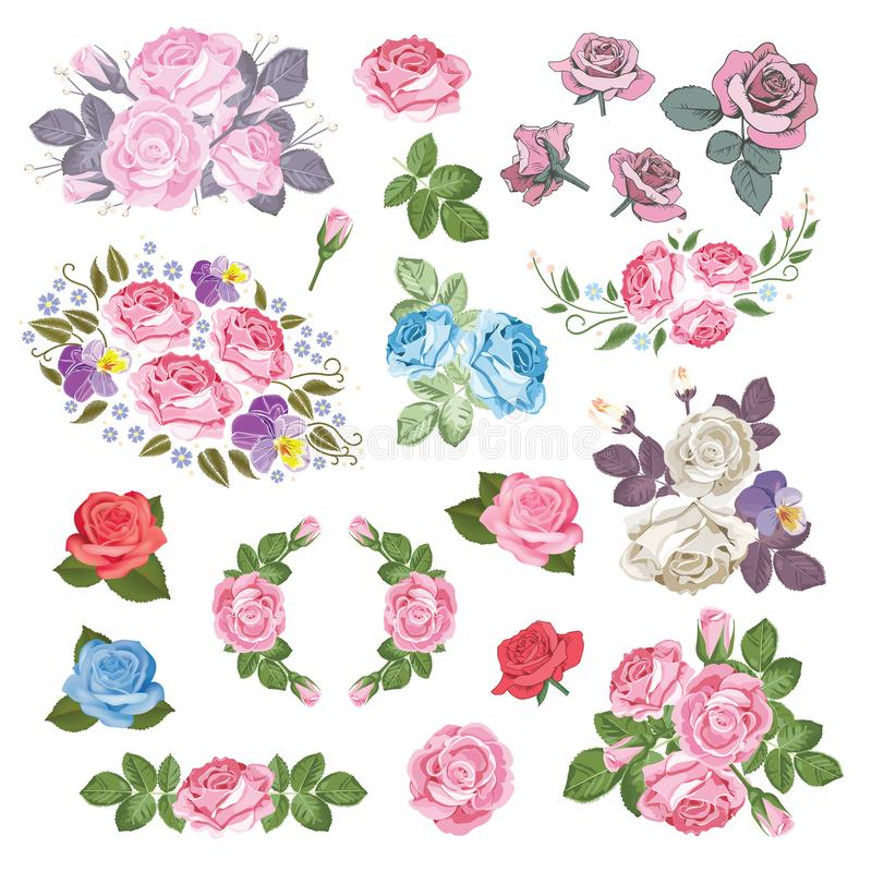 Collection réglée méga de différentes roses avec des feuilles d'isolement sur le fond blanc Illustration de vecteur illustration libre de droits