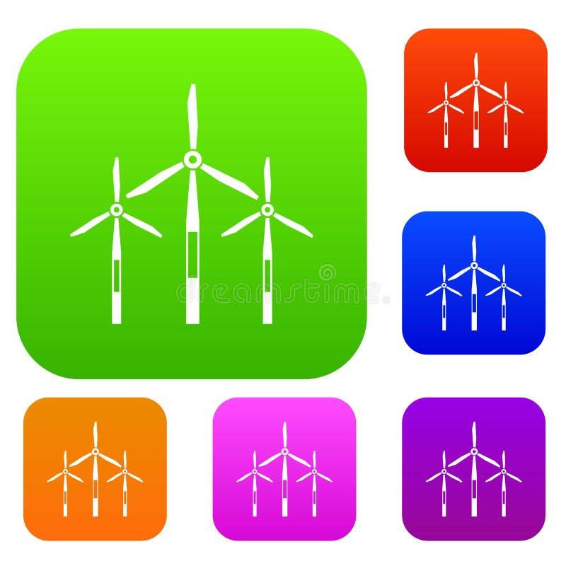 Collection réglée par turbines de couleur de générateur de vent illustration de vecteur