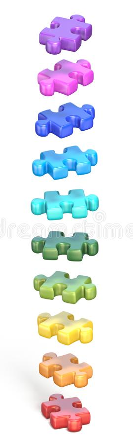 Collection of rainbow colored puzzle jigsaw pieces 3D. Render illustration isolated on white background royalty free illustration