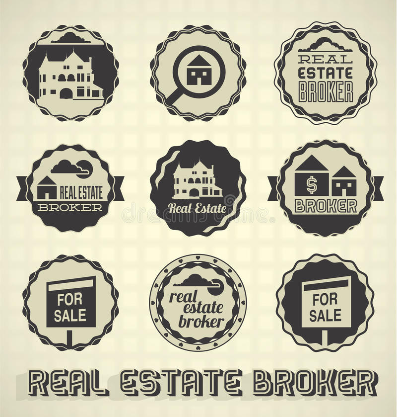 Real Estate Broker Labels and Icons royalty free illustration