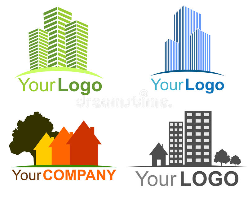 Collection of real estate logos stock illustration
