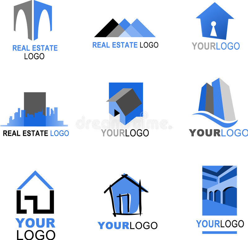 Collection of real estate logos royalty free illustration