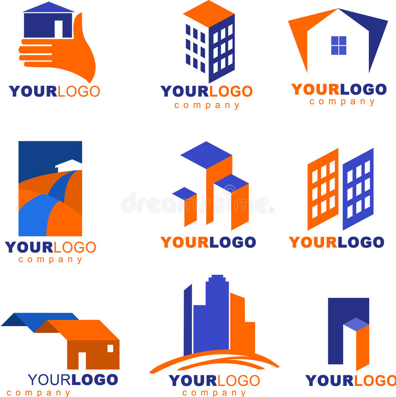 Collection of real estate logos and icons royalty free illustration
