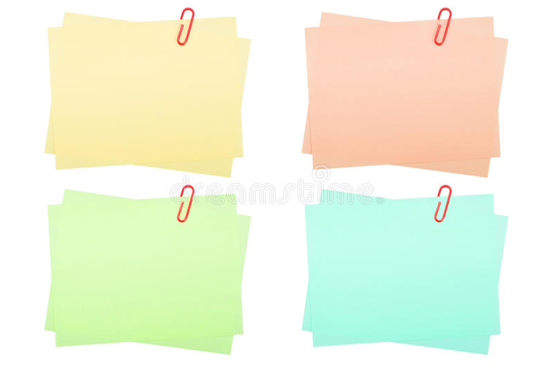 Download Collection Of Real Note Papers With Paper Clip On Stock Photo - Image: 26442006