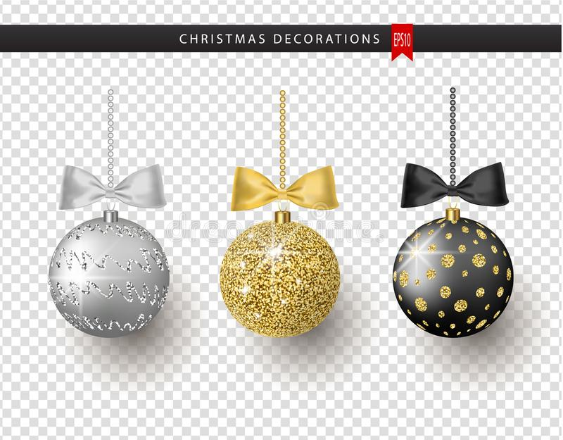 Collection of realistic beautiful shiny Christmas balls with bow on transparent background. New Year decoration vector illustration