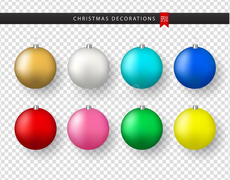 Collection of realistic colorful Christmas balls on transparent background. New Year decoration. Vector Xmas vector illustration