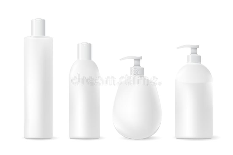 Collection of realistic cosmetic plastic bottles isolated on white background.Cosmetic brand template. Vector illustration royalty free illustration